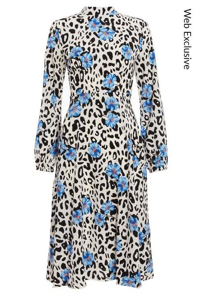 Blue Floral & Animal Print Midi Dress